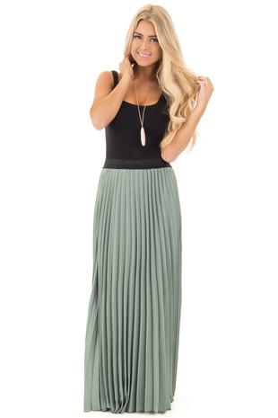 Sage Pleated Maxi Skirt with Black Waistband front full body