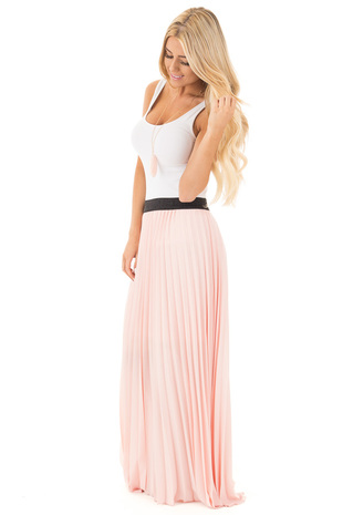 Peach Pleated Maxi Skirt with Black Waistband side full body