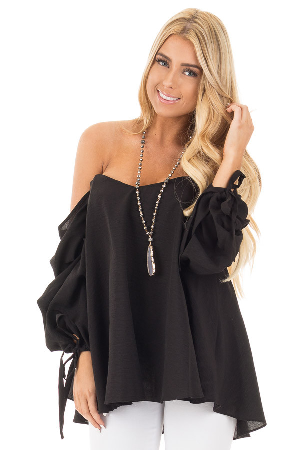 Black Off Shoulder Sweetheart Blouse with Gathered Sleeves front close up