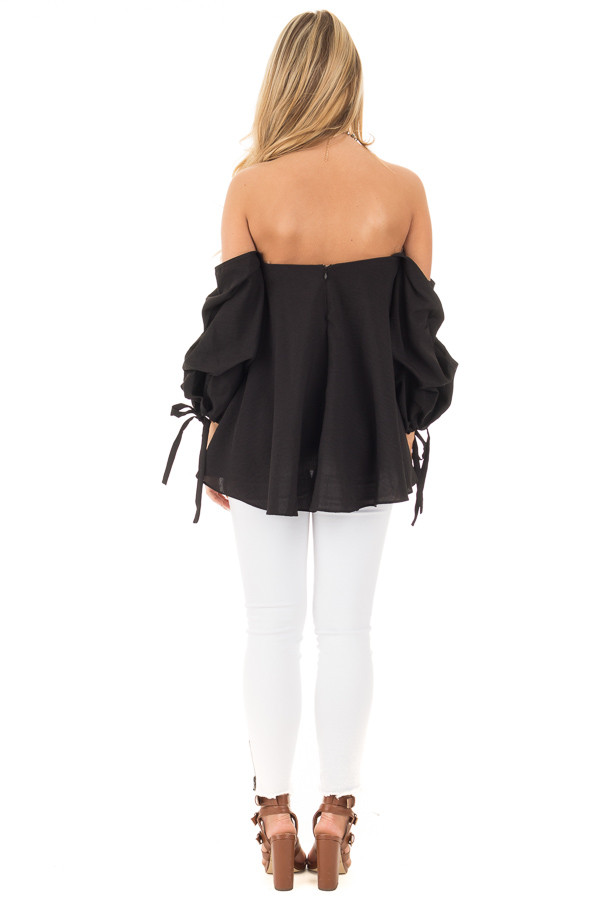 Black Off Shoulder Sweetheart Blouse with Gathered Sleeves back full body