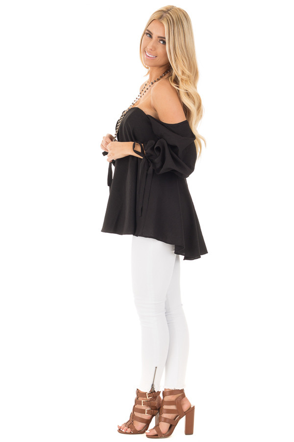 Black Off Shoulder Sweetheart Blouse with Gathered Sleeves side full body