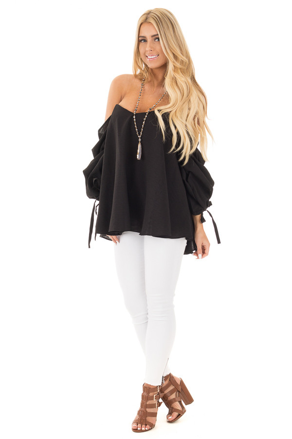 Black Off Shoulder Sweetheart Blouse with Gathered Sleeves front full body