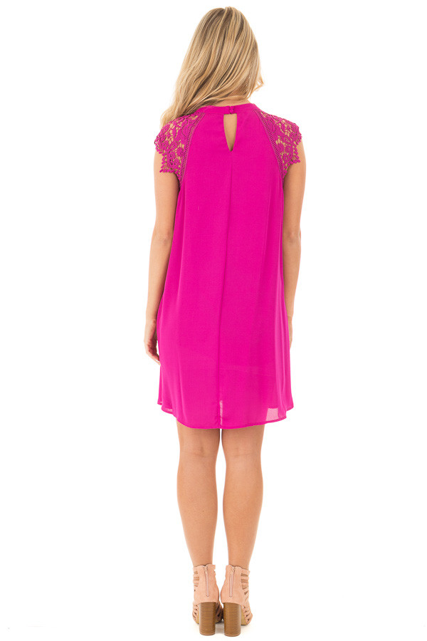 Magenta Chiffon Dress with Sheer Lace Cap Sleeves back full body