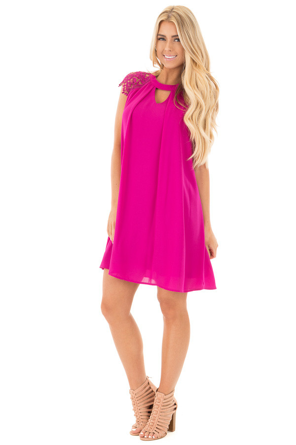 Magenta Chiffon Dress with Sheer Lace Cap Sleeves front full body