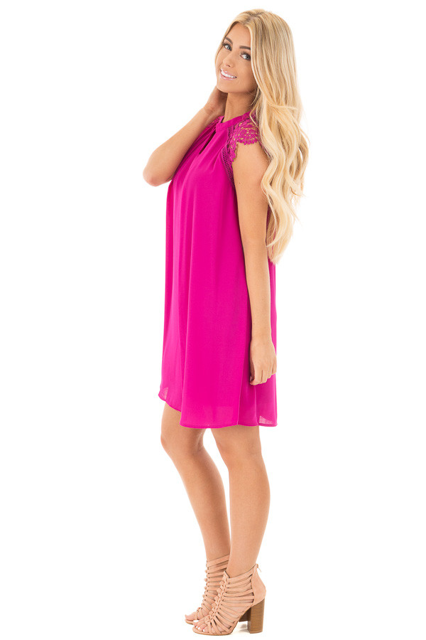 Magenta Chiffon Dress with Sheer Lace Cap Sleeves side full body