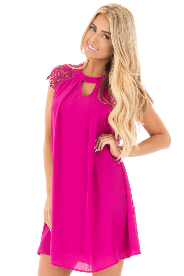 Magenta Chiffon Dress with Sheer Lace Cap Sleeves front close up