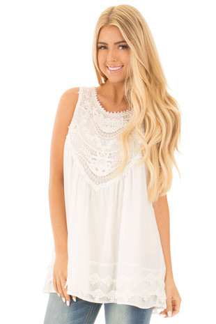 White Sleeveless Chiffon Top with Crochet Details front close up