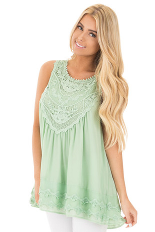 Sage Sleeveless Chiffon Top with Crochet Details front close up
