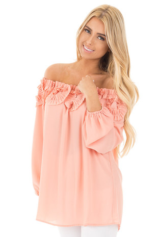 Peach Off Shoulder Blouse with Circle Ruffle Neckline Detail front close up
