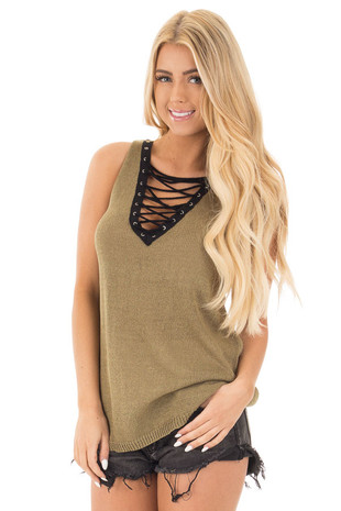 Olive Knit Tank with Black Criss Cross Lace Up Neckline front close up