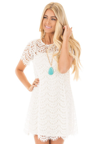 Cream Short Sleeve Scalloped Lace Dress front close up