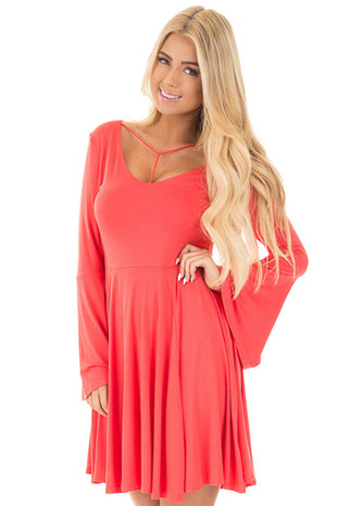 Tomato Swing Dress with T Strap Neckline and Bell Sleeves front close up