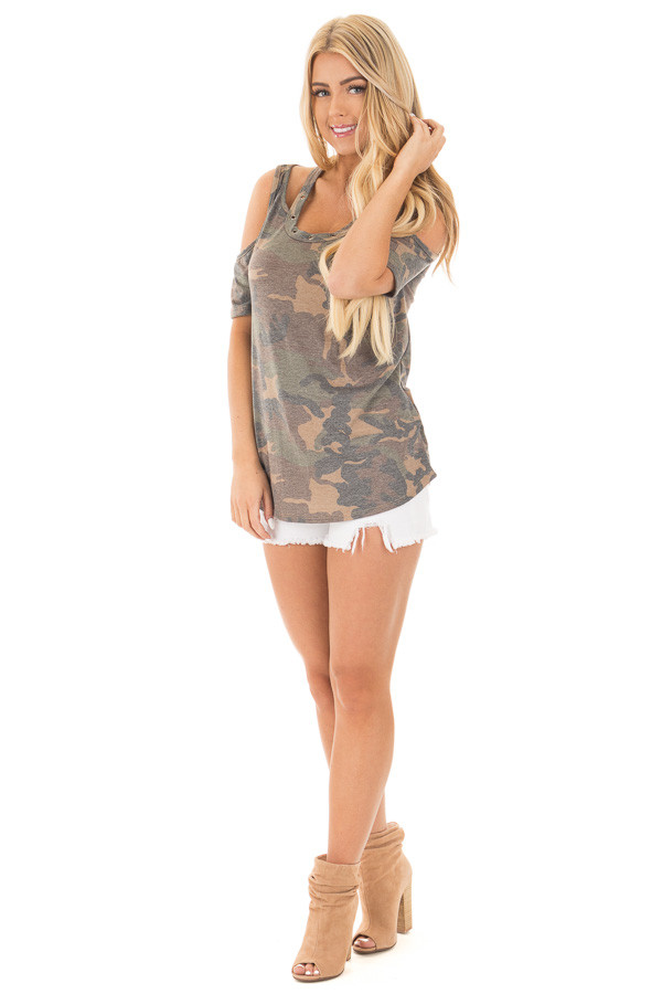 Camouflage Scoop Neck Tee with Cut Out Details front side full body