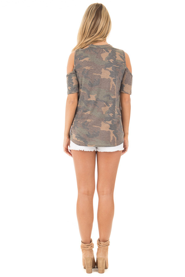 Camouflage Scoop Neck Tee with Cut Out Details back full body