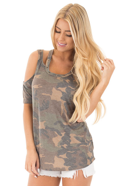 Camouflage Scoop Neck Tee with Cut Out Details front close up