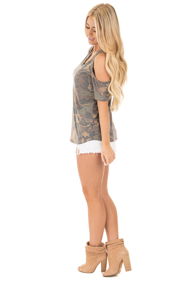 Camouflage Scoop Neck Tee with Cut Out Details side full body