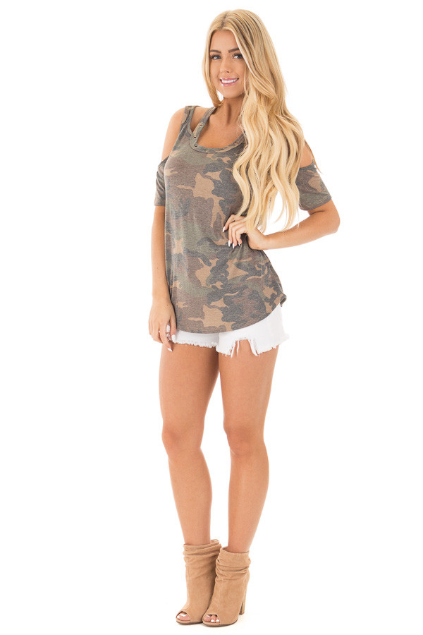 Camouflage Scoop Neck Tee with Cut Out Details front full body