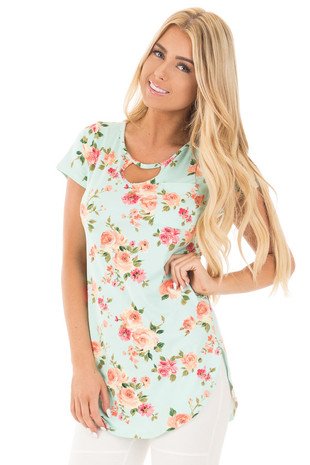 Mint Floral Print Soft Knit Top with Front Pocket Detail front close up