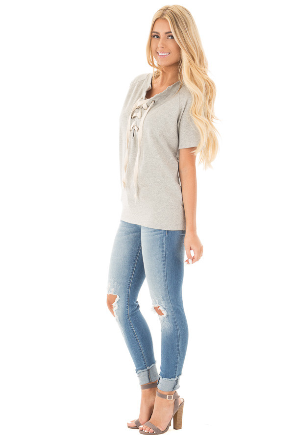 Heather Grey Loose Fit Lace Up Short Sleeve Knit Top side full body