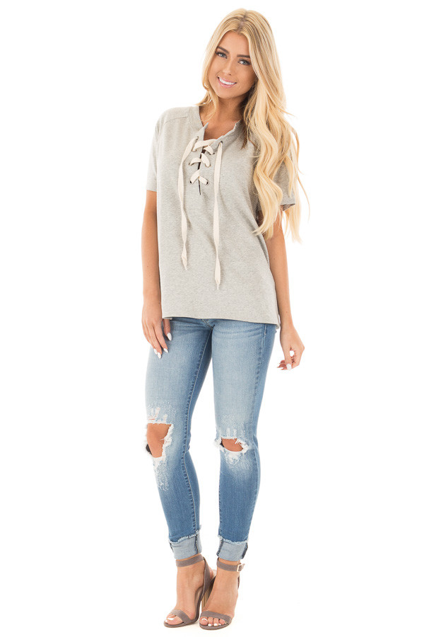 Heather Grey Loose Fit Lace Up Short Sleeve Knit Top front full body