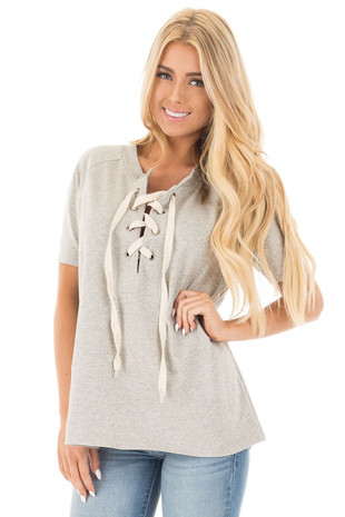 Heather Grey Loose Fit Lace Up Short Sleeve Knit Top front close up
