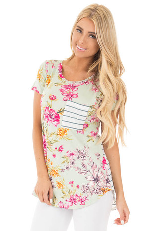 Sage Floral Print with Stripe Chest Pocket and Back Top front close up