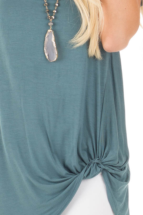 Antique Blue Cuffed Sleeve Tunic Top with Twist Front Detail detail