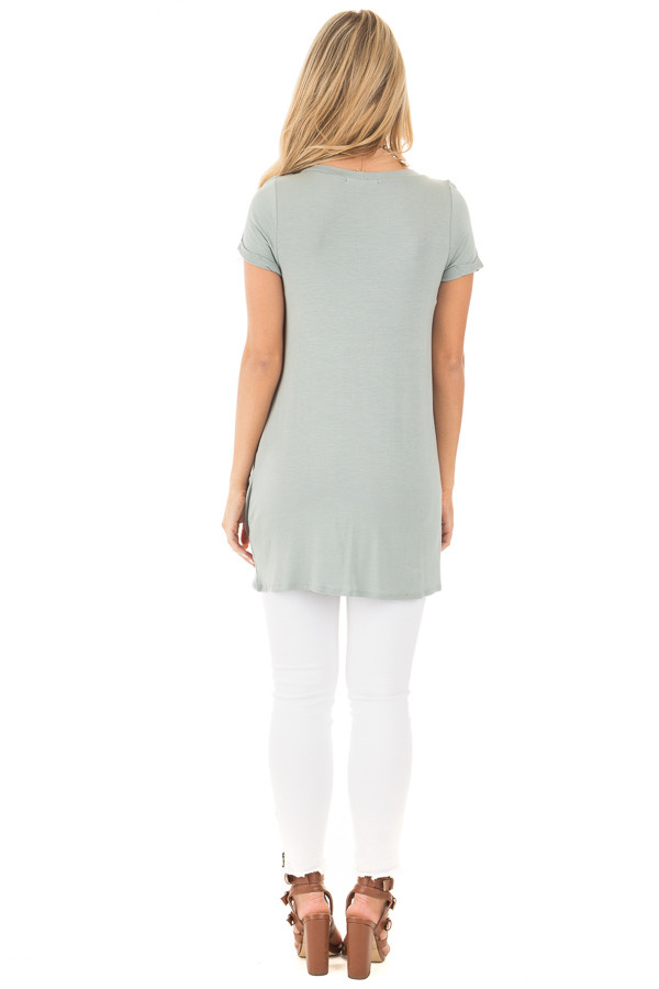 Blue Sage Cuffed Sleeve Tunic Top with Twist Front Detail back full body