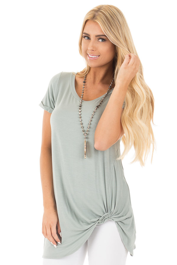 Blue Sage Cuffed Sleeve Tunic Top with Twist Front Detail front close up