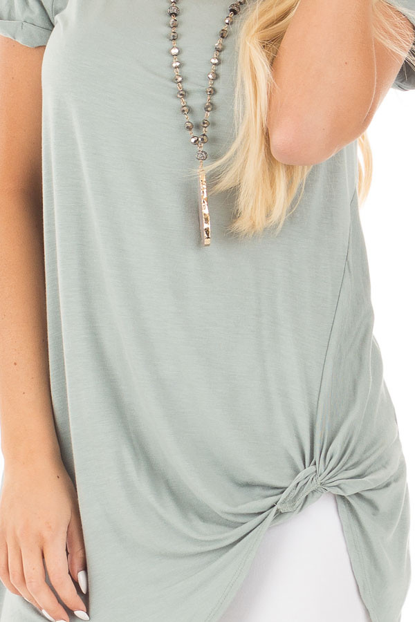 Blue Sage Cuffed Sleeve Tunic Top with Twist Front Detail detail