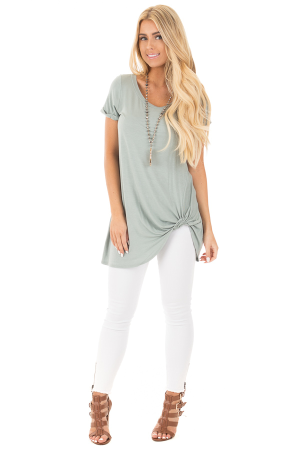 Blue Sage Cuffed Sleeve Tunic Top with Twist Front Detail front full body