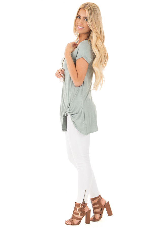 Blue Sage Cuffed Sleeve Tunic Top with Twist Front Detail side full body