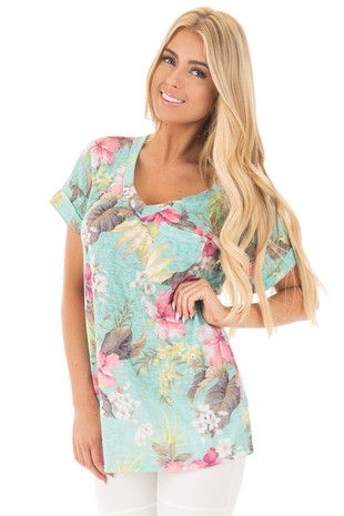 Mint Hibiscus Floral Cap Sleeve Top with Chest Pocket front close up