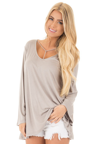 Cloud Grey Long Sleeve Top with T Strap Neckline front close up