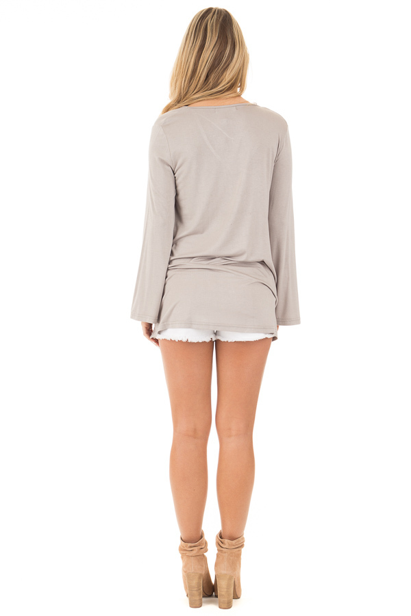 Cloud Grey Long Sleeve Top with T Strap Neckline back full body