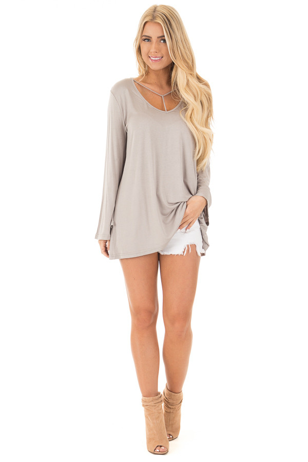 Cloud Grey Long Sleeve Top with T Strap Neckline front full body