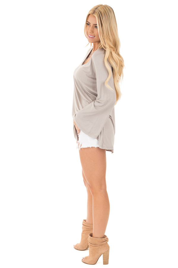 Cloud Grey Long Sleeve Top with T Strap Neckline side full body
