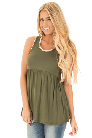 Olive Flowing Babydoll Tank with Lace Trim front close up