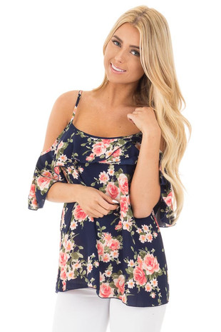 Navy and Blush Floral Cold Shoulder Top with Ruffle Detail front close up