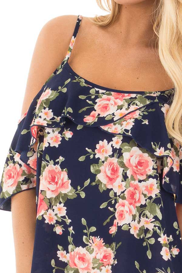 Navy and Blush Floral Cold Shoulder Top with Ruffle Detail detail
