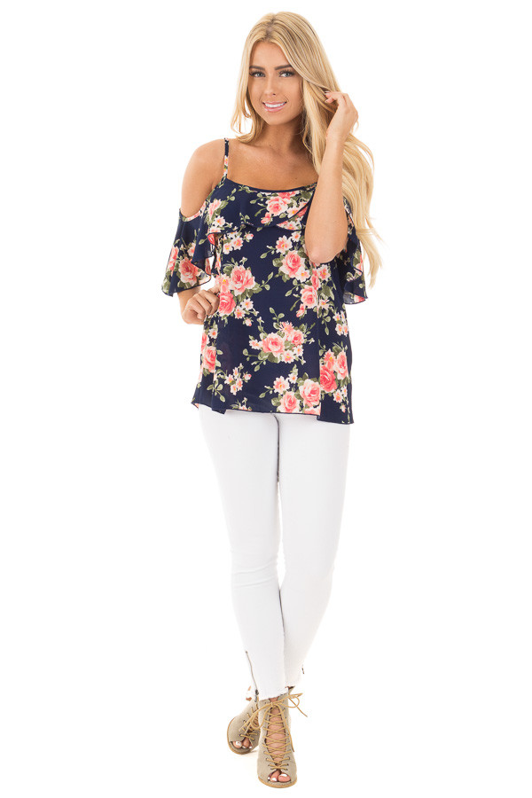 Navy and Blush Floral Cold Shoulder Top with Ruffle Detail front full body