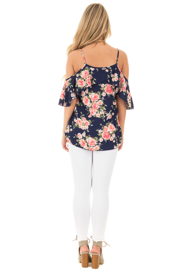 Navy and Blush Floral Cold Shoulder Top with Ruffle Detail back full body