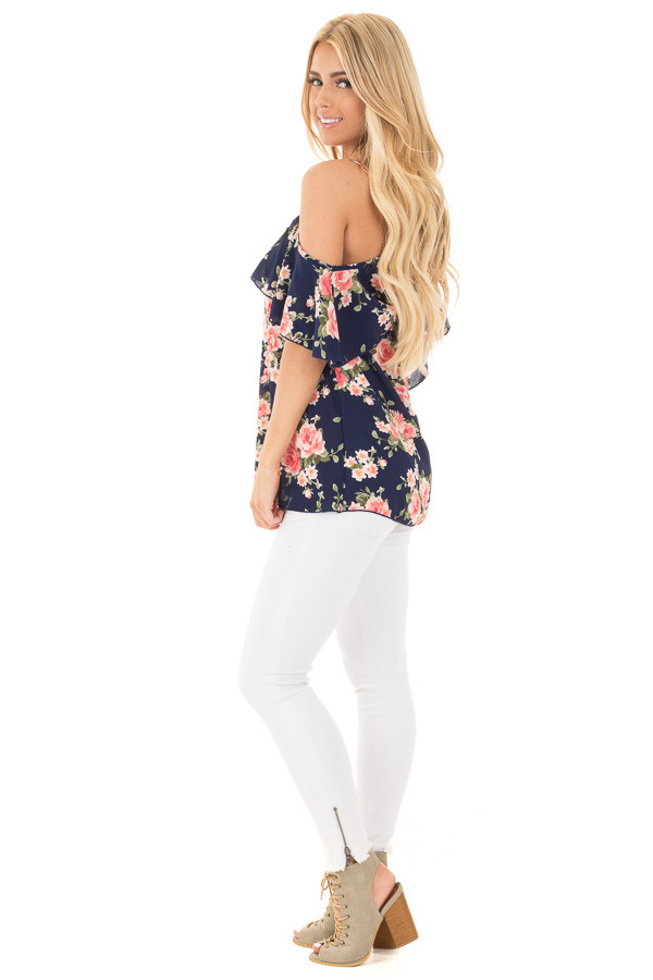 Navy and Blush Floral Cold Shoulder Top with Ruffle Detail side full body