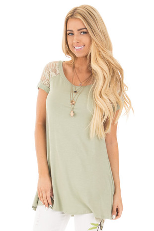 Sage Raglan Tunic Tee with Floral Lace Sleeve Contrast front close up