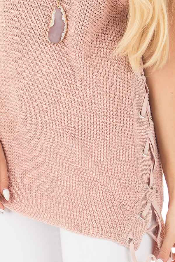 Mauve Knit Tank with Lace Up Slide Detail detail