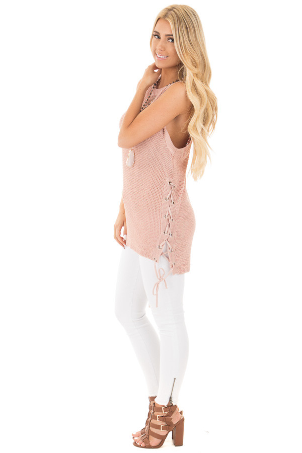Mauve Knit Tank with Lace Up Slide Detail side full body