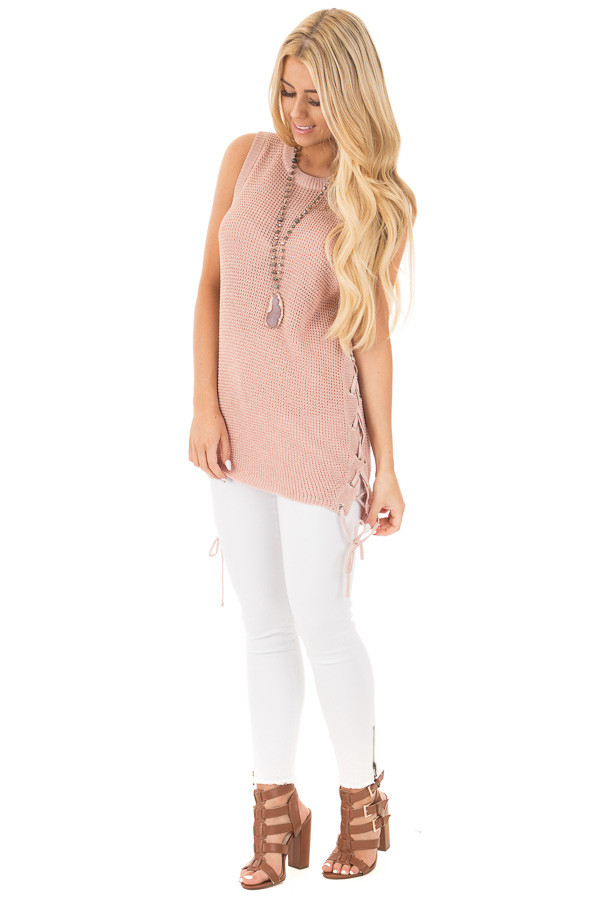 Mauve Knit Tank with Lace Up Slide Detail front full body