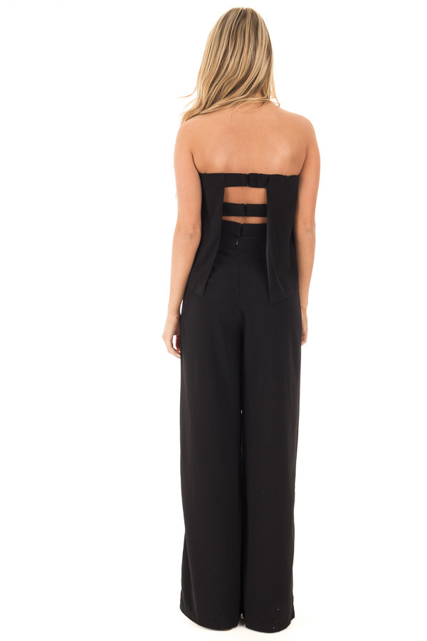 Black Strapless Drape Top Jumpsuit back full body
