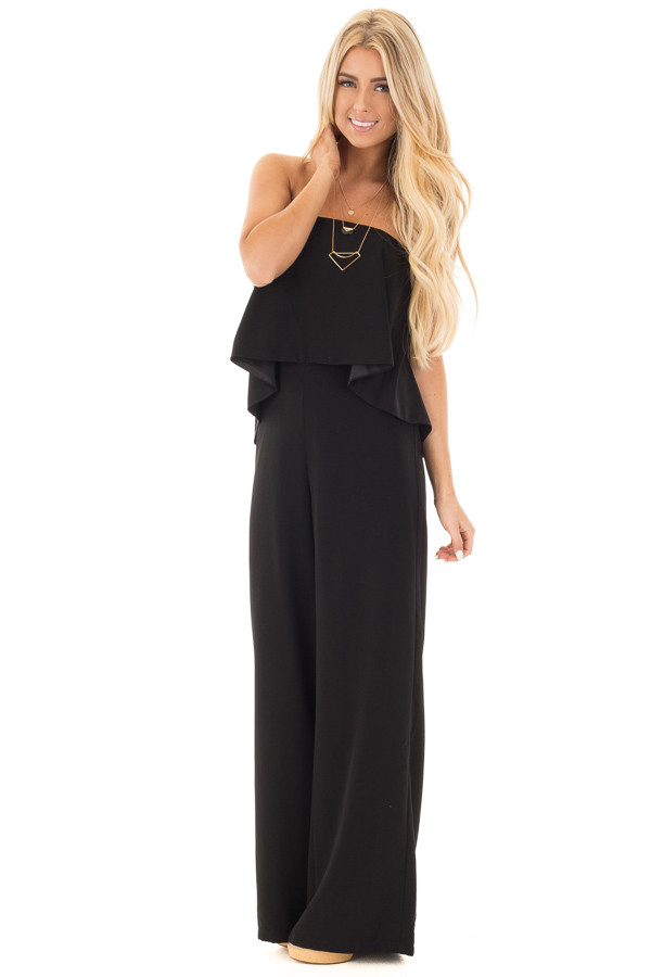 Black Strapless Drape Top Jumpsuit front full body