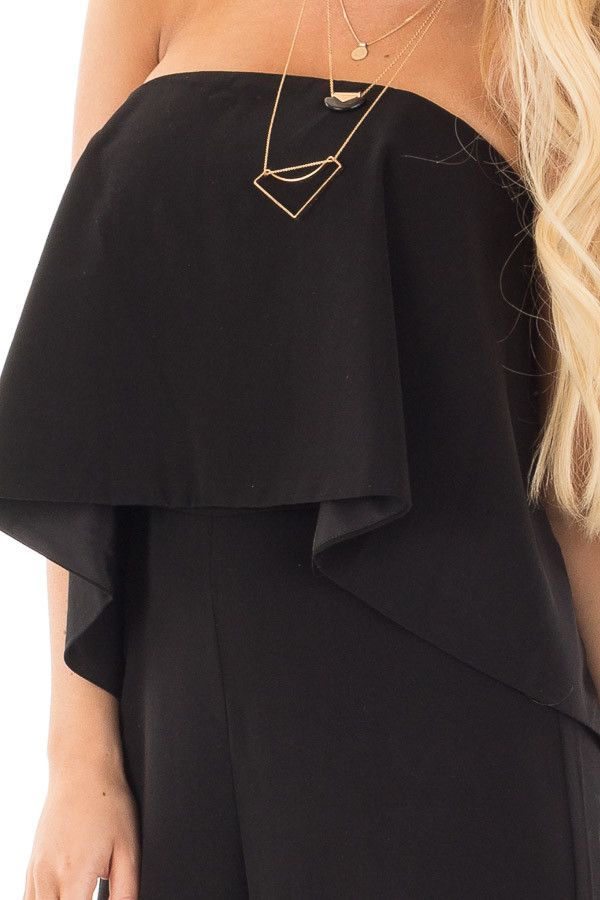 Black Strapless Drape Top Jumpsuit detail